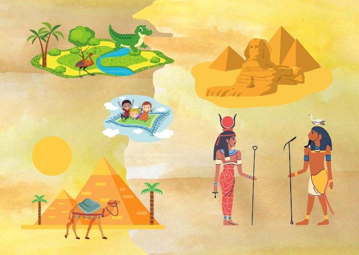 Viaggio sul tappeto volante dello yoga. Antico Egitto